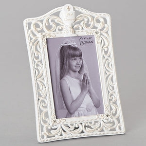 White Scroll First Communion Photo Frame