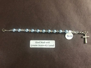 Blue 6mm Pearl Child's Decade Rosary Bracelet, hand made with genuine Swarovski crystal accents and a sterling silver cross with crystal inlay, 4.5 inches long