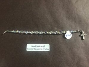 Child's Clear 6mm Crystal Decade Rosary Bracelet