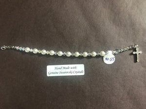 White 6mm Pearl Child's Decade Rosary Bracelet, hand made with genuine Swarovski crystal accents and a sterling silver cross with crystal inlay, 6.5 inches long