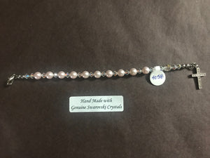 Pink 6mm Pearl Child's Decade Rosary Bracelet, hand made with genuine Swarovski crystal accents and a sterling silver cross with crystal inlay, 6 inches long