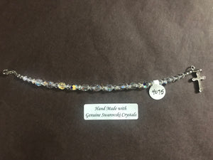 Clear 6mm Crystal Child's Decade Rosary Bracelet, hand made with genuine Swarovski crystals and a sterling silver cross with crystal inlay, 6.5 inches long