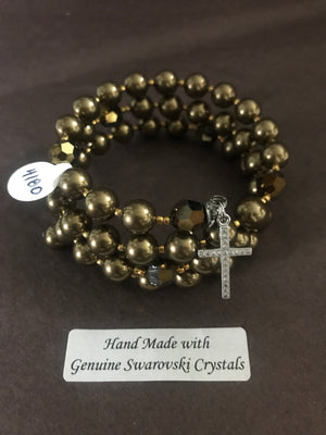 8mm Antique Brass Pearl Rosary bracelet with genuine Swarovski crystal accents and a sterling silver cross.