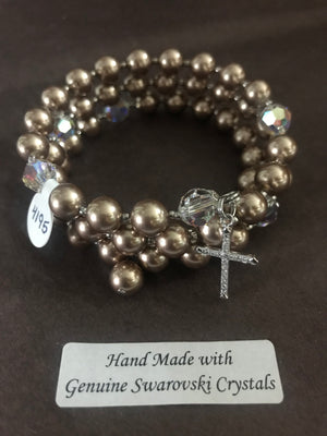 8mm Bronze Pearl Rosary bracelet with genuine Swarovski crystal accents and a sterling silver cross.