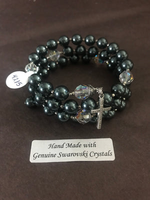 8mm Dark Sage Green Pearl Rosary bracelet with genuine Swarovski crystal accents and a sterling silver cross.