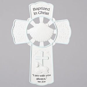 "7.75"" Baptism Wall Cross Boy"