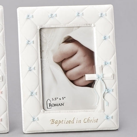 "7"" White with Blue Baptism Photo Frame"