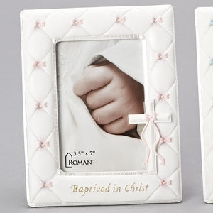 "7"" White with Pink Baptism Photo Frame"