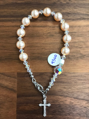 Peach 8mm Pearl Decade Rosary Bracelet