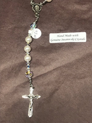 White 8mm Pearl Rosary