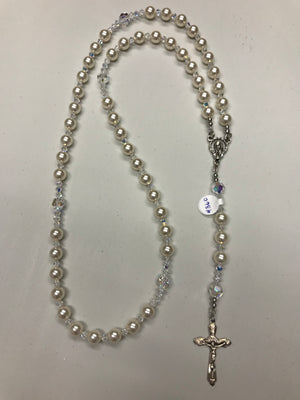 Cream 8mm Pearl Rosary