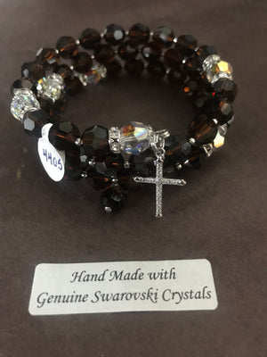 8mm Mocca Crystal Full Rosary bracelet with genuine Swarovski faceted crystals and a sterling silver cross.