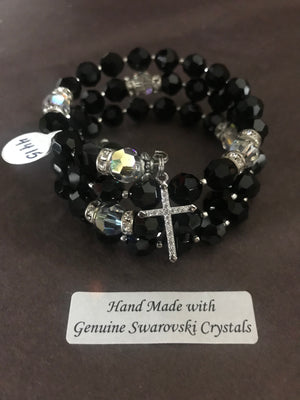 8mm Jet Black Crystal Full Rosary bracelet with genuine Swarovski faceted crystals and a sterling silver cross.
