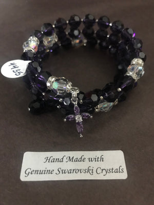 8mm Purple Velvet Crystal Full Rosary bracelet with genuine Swarovski faceted crystals and a sterling silver cross.