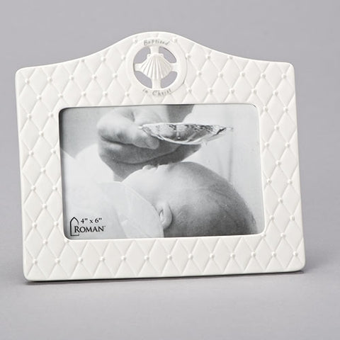 "7"" White Baptism Photo Frame"