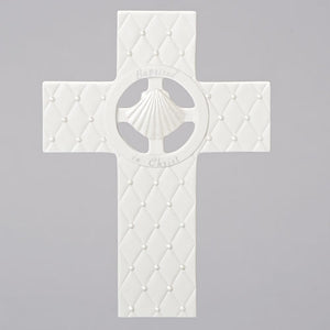 "7.5"" White Baptism Wall Cross"