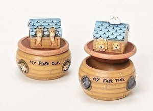 2 pc Noah's Ark 1st Tooth/Curl Keepsake