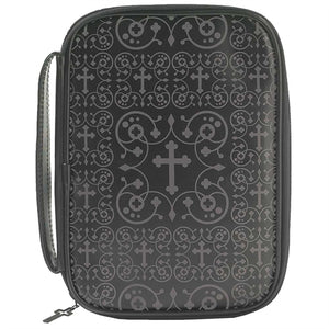 Bible Case - Faux-Leather/Vinyl-Damask Cross