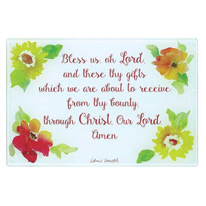 Bless Us Oh Lord - Glass Cutting Board
