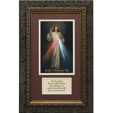 Divine Mercy Matted w/ Prayer Dark Ornate Frame 8x14