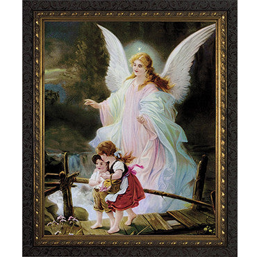 Guardian Angel Dark Ornate Frame 8x10