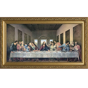 Last Supper Gold Frame 8x16