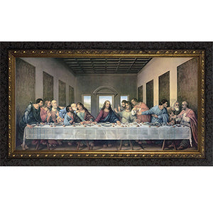 Last Supper Dark Ornate Frame 12x24