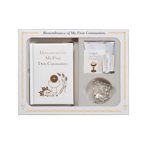 White Remembrance of My First Holy Communion Deluxe Gift Set
