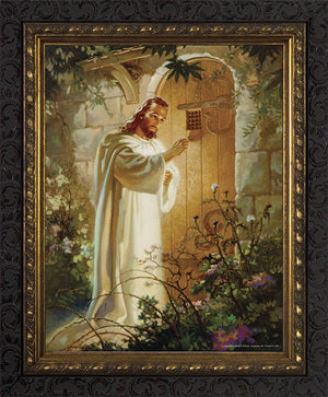 8x10 Christ at Heart's Door - Dark Ornate Framed Art