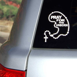Car Decal - Pray for the Unborn Baby Shaped Rosary