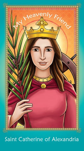 prayer card saint catherine of alexandria pack of 25 branches