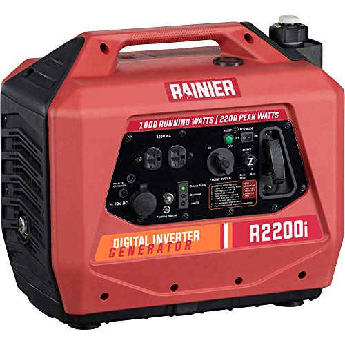 Rainier R2200i Super Quiet Portable Inverter Generator - 1800 Running & 2200 Peak - Gas Powered - CARB Compliant (Renewed)