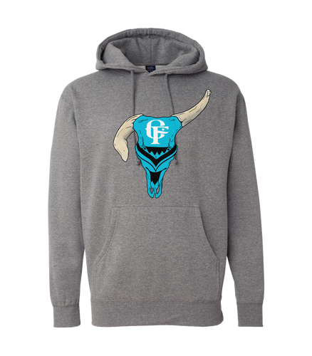 Bull Skull Hoodie-Heather Grey-