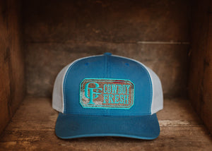 Curved Bill Trucker Snapback Blue/White Pendleton Fabric