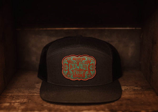 Flat Brim Snapback New School Charcoal Brown/Turquoise