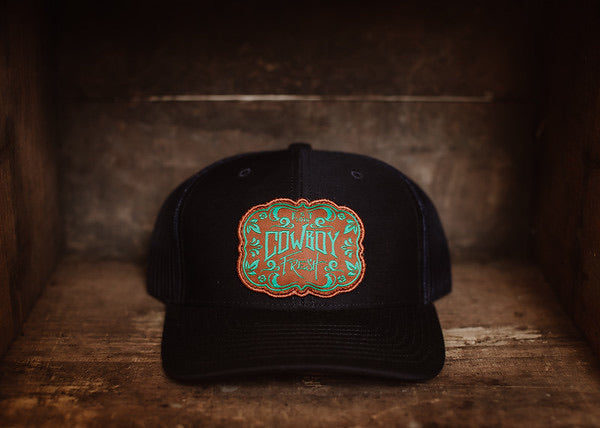 Youth Curved Bill Trucker Navy Black/White