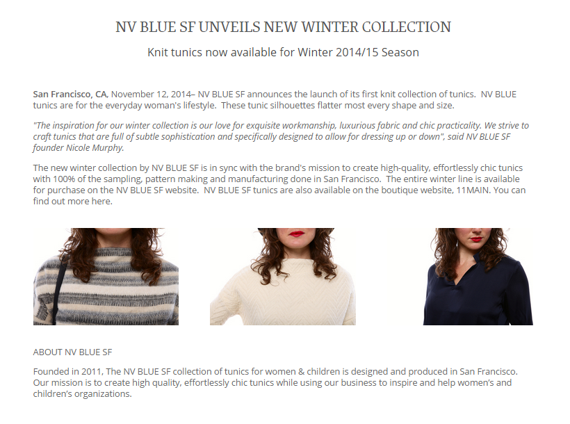 Winter Collection Press Release