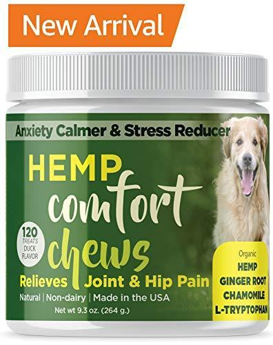 Dog Anxiety Relief with HEMP OIL-Calming Treats for Dogs for Separation  Anxiety -Soft Chews for Storm Anxiety and Motion Sickness Relief with Omega  3