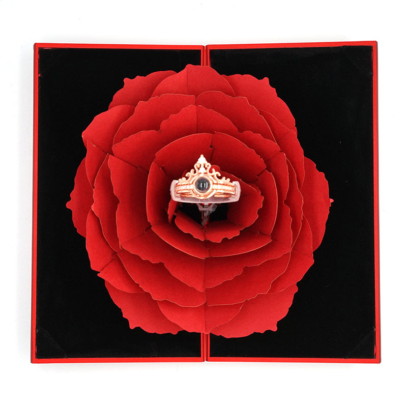 100 Languages Rose Flower + Ring Included