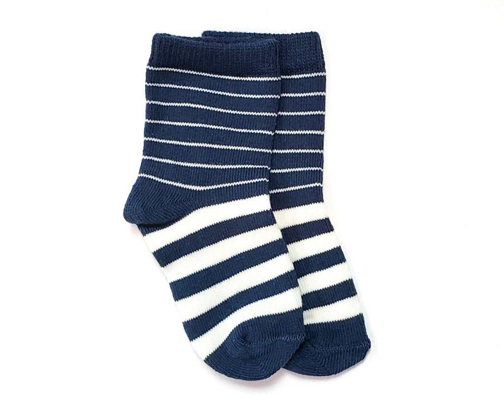 Navy & White Stripes Socks