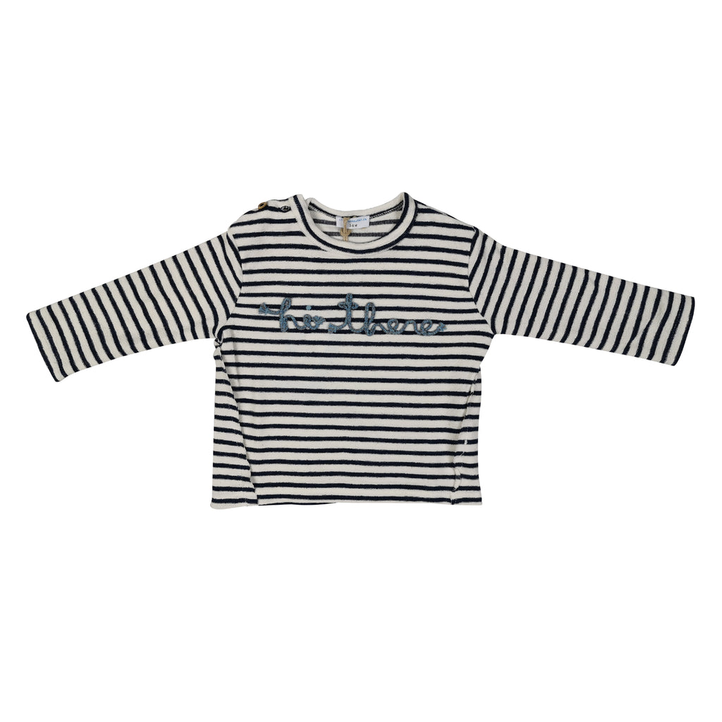 "TShirt LS- NAVY COLOR AND WHITE STRIPPED  ""HI THERE"""