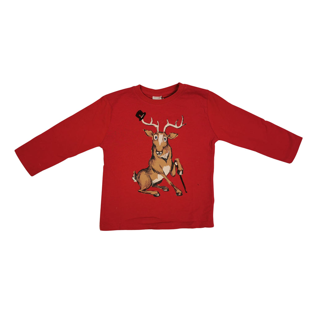 TSHIRT LS - RED WITH DEER