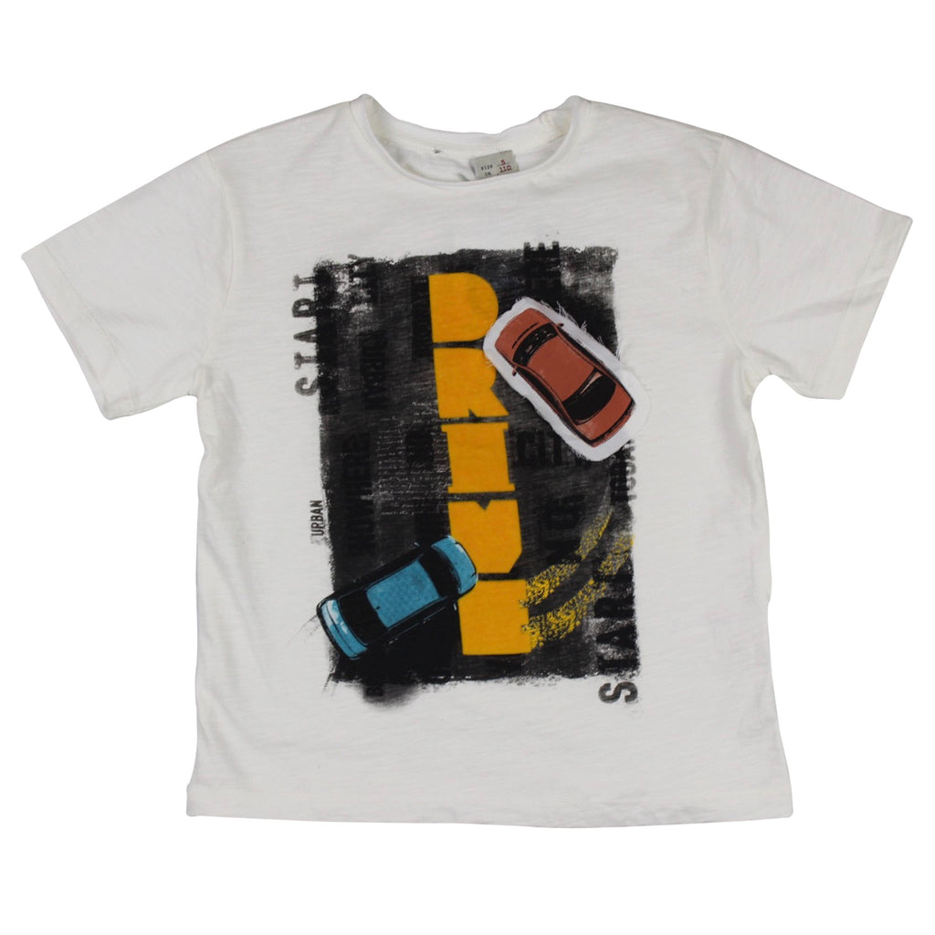 "Tshirt-Ivory with Drifting Cars and ""DRIVE"""
