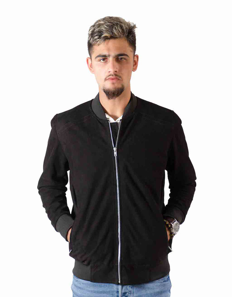 Suede Leather Bomber Jacket - Hydeland