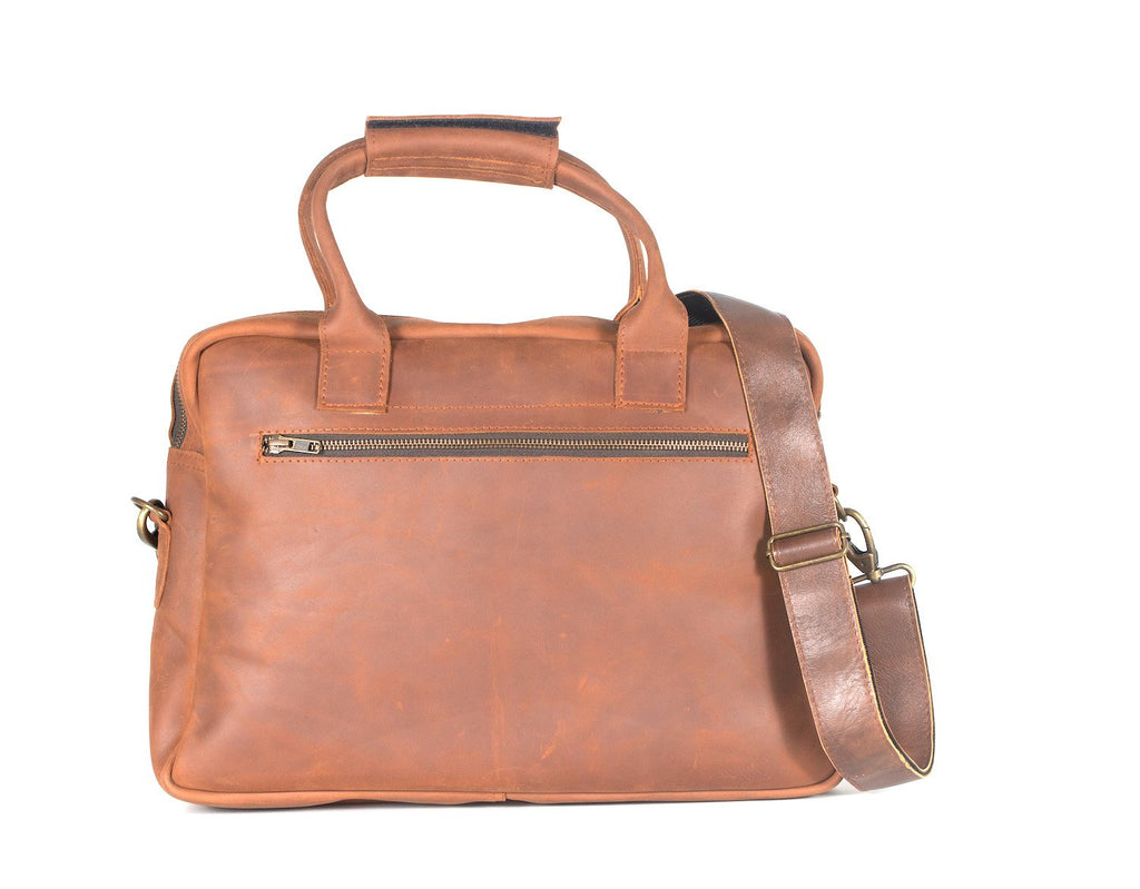 Pull Up Leather Briefcase - Chestnut - Hydeland