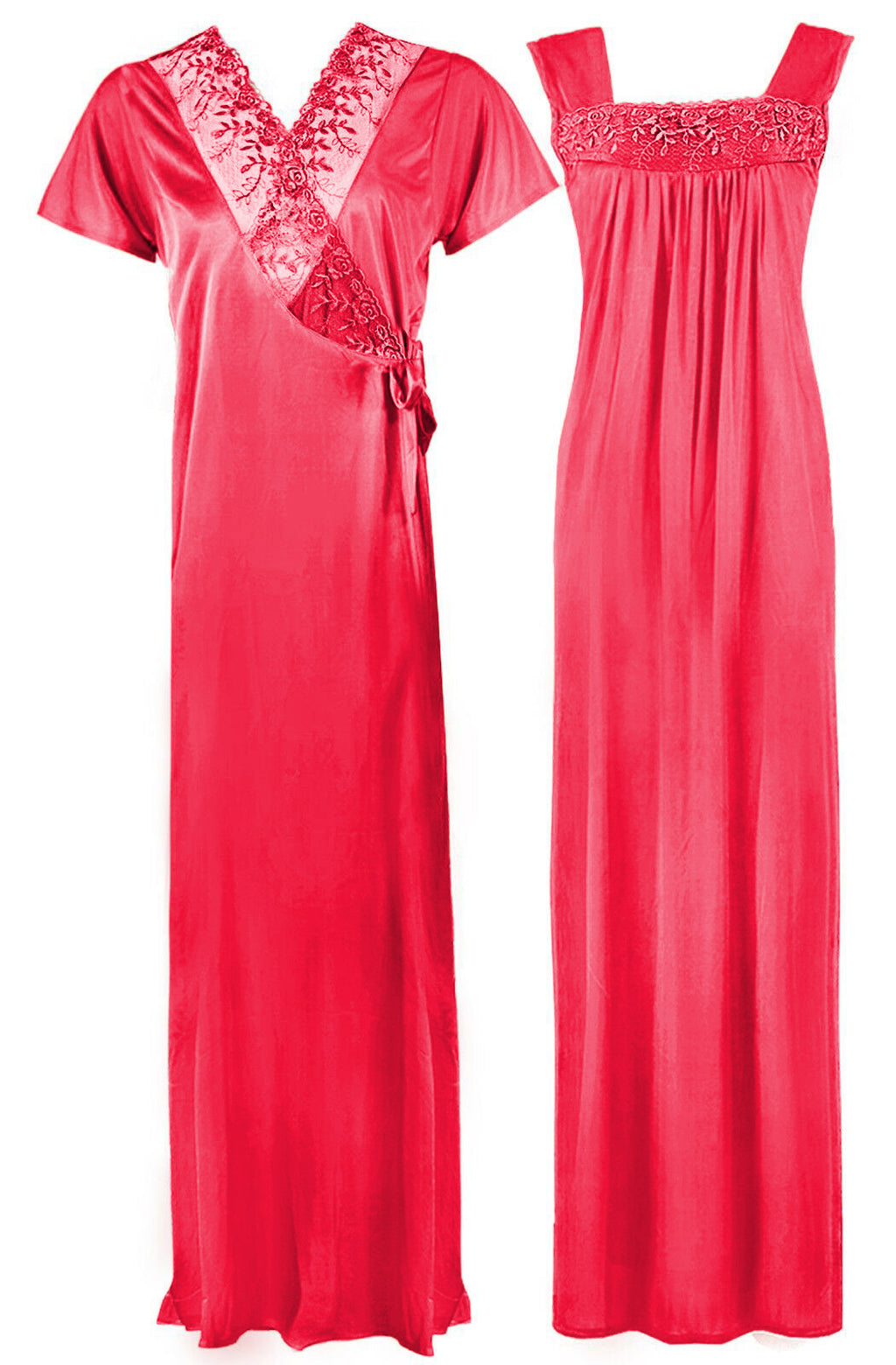 Satin Nighty With Dressing Gown / Robe - Hautie Nightfashion