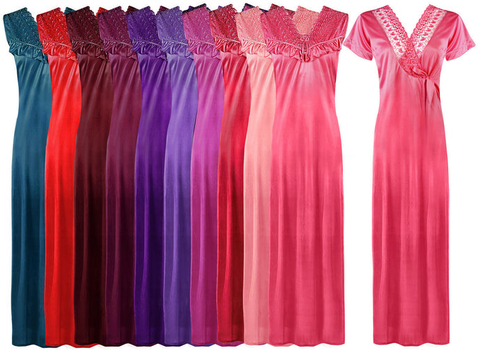 HAUTIE SEXY LADIES SATIN NIGHTIE WOMENS LONG NIGHTY NIGHTDRESS ROBE GOWN 2 PC - Hautie UK