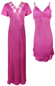 2 Pcs Short Nighty with Long Robe [colour]- Hautie UK, #Nightfashion | #Underfashion