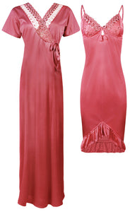 Satin Short Nighty With Robe [colour]- Hautie UK, #Nightfashion | #Underfashion