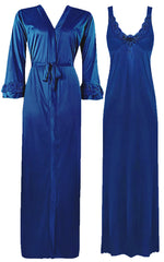 Načíst obrázek do prohlížeče Galerie, Color: Royal Blue 2 Piece Satin Nighty and Robe With Long Sleeve Dressing Gown Size: XL